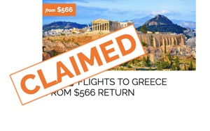 Flights to Athens from $566 return - claimed